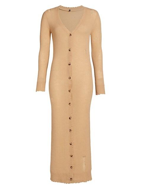Distressed Cashmere Cardigan Dress