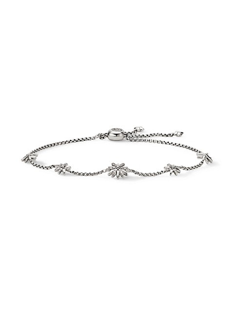 Petite Starburst Station Chain Bracelet With Pavé Diamonds