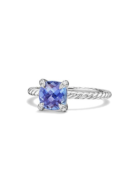 Châtelaine Ring With Tanzanite & Diamonds In 18K White Gold, 7MM