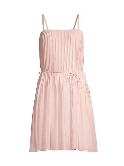 Pintuck Silk Mini-Dress