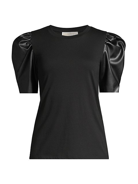 Leather Puff-Sleeve Top