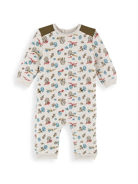Baby Boy's Quilted Fox & Tree-Print One-Piece