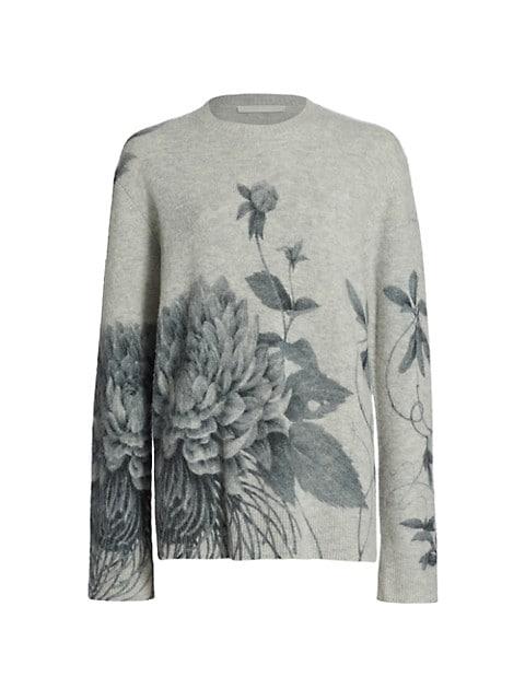 Floral Print Cashmere Blend Sweater