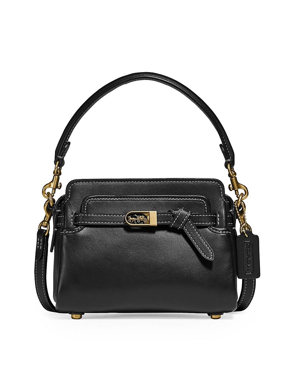 코치 크로스바디백 COACH Tate 18 Leather Crossbody Bag,BLACK