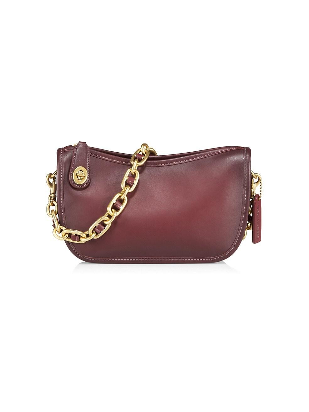코치 숄더백 COACH Swinger Leather Shoulder Bag,WINE