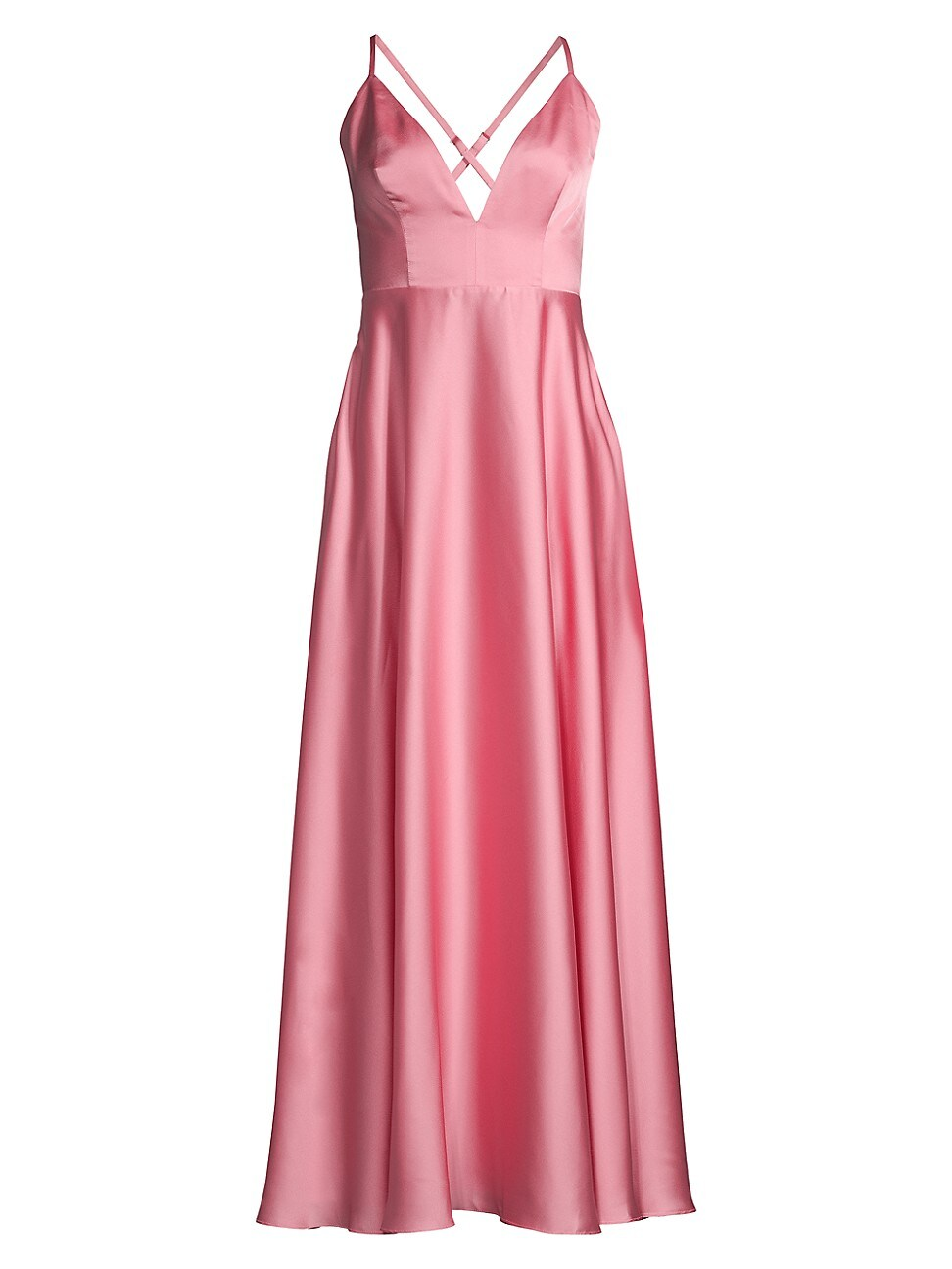 Fame And Partners Eilidh Plunge A-line Gown In Rose
