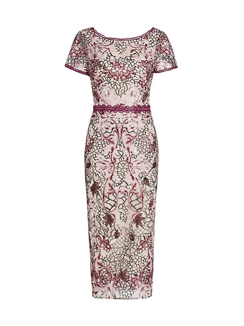 Embroidered Tulle Sheath Dress