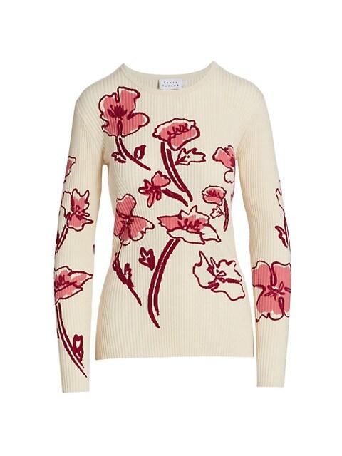Carina Rib Knit Floral Sweater