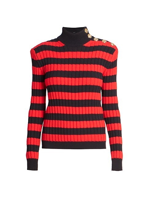 Striped Button-Detail Sweater