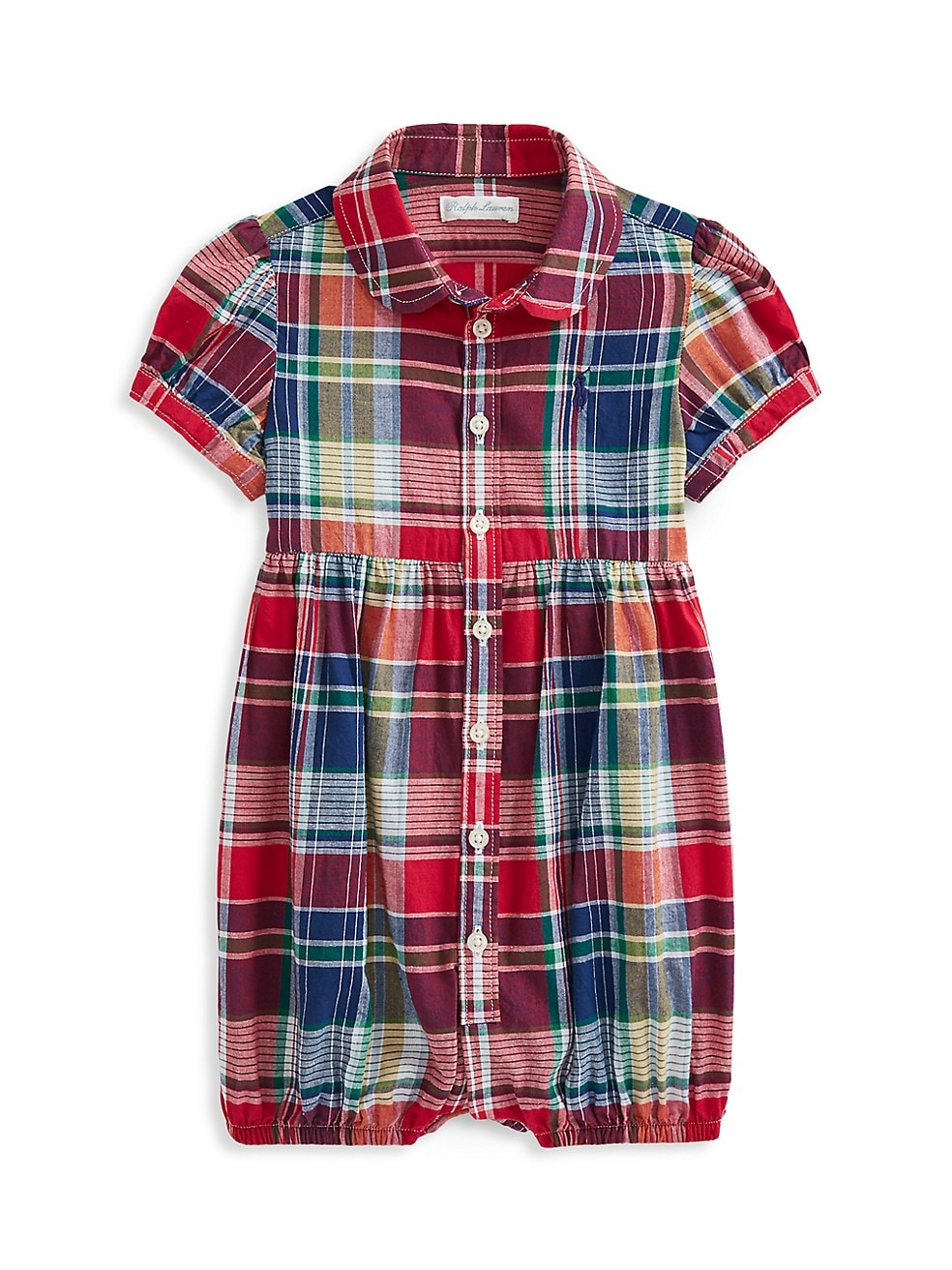 폴로 랄프로렌 베이비 아기옷 우주복  Polo Ralph Lauren Baby Girls Plaid Bubble Shortall,RED