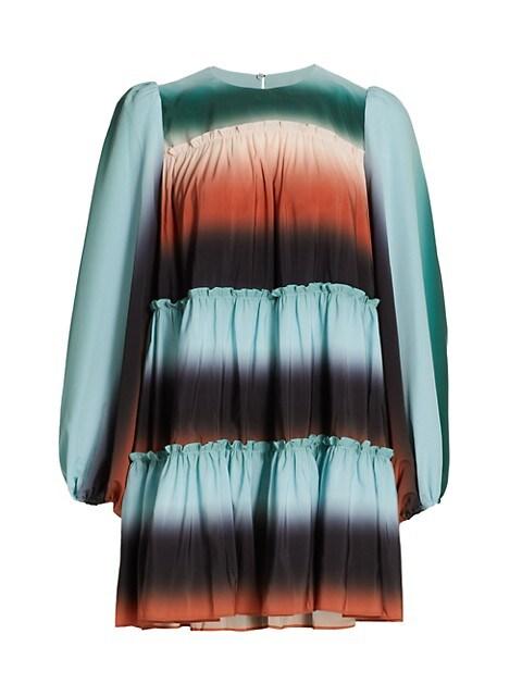 Tiered Crepe Mini-Dress