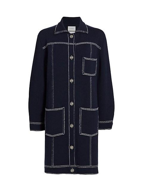 Long Cashmere-Blend Denim Jacket