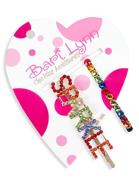 Girl's Crystal-Embellished Sparkle Barret & Bobby Pin Set
