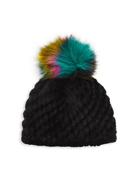 Solid Faux Fur Pineapple Hat With Faux Fur Pom
