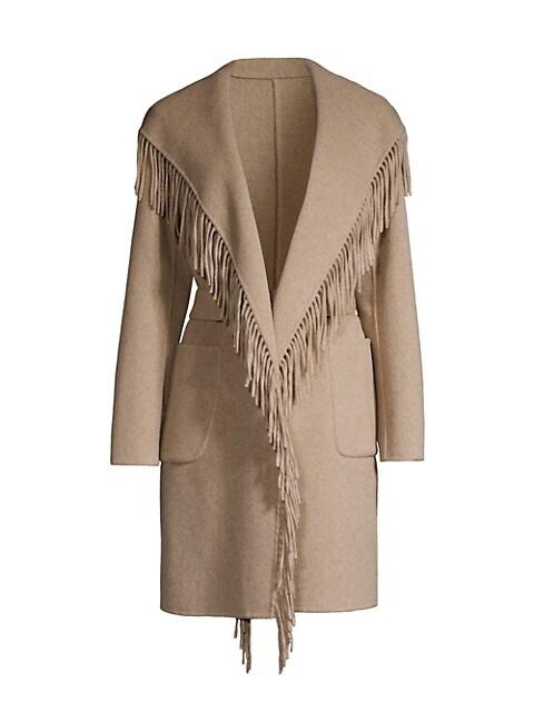 Wool Fringe Wrap Coat