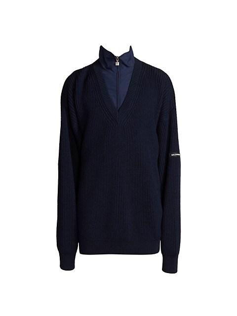 Layered Wool Rib-Knit Sweater