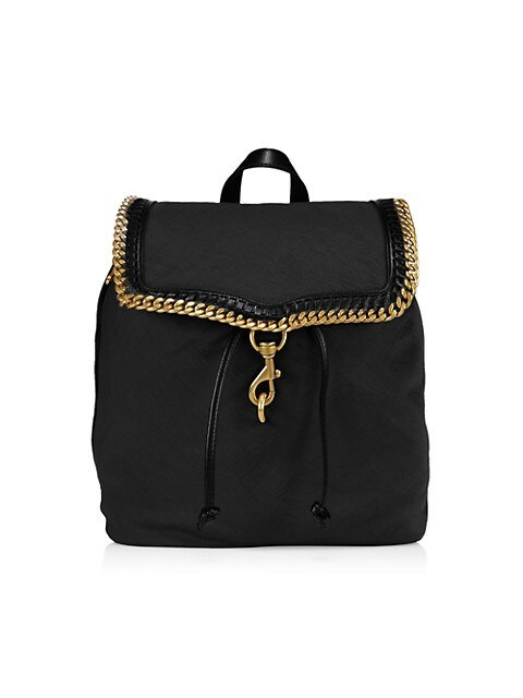 Chain-Trimmed Woven Backpack