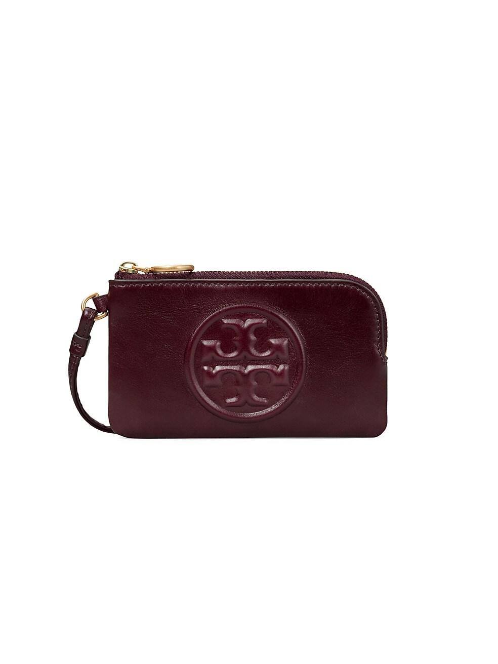 토리버치 카드 지갑 Tory Burch Perry Bombe Glazed Leather Top-Zip Card Case,FIG