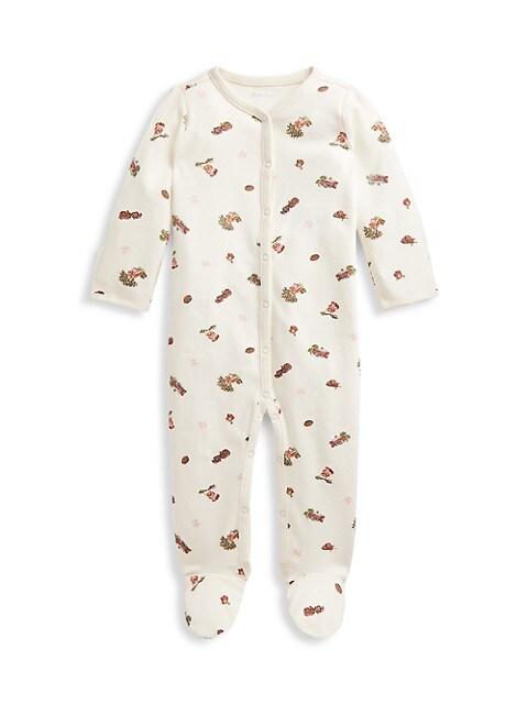 Baby Girl's Polo Bear Footie