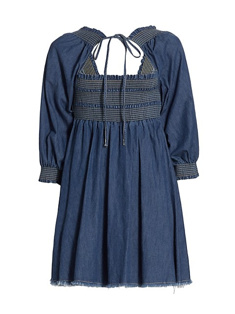 Smocked Denim Babydoll Dress