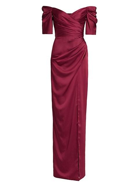 Sienna Satin Off-The-Shoulder Gown