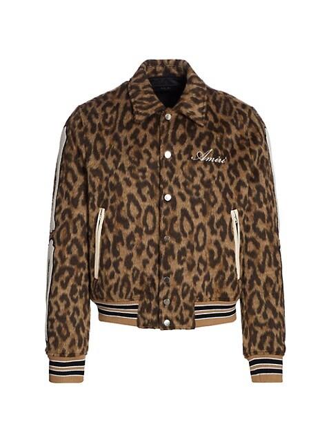 Bones Leopard-Print Wool Varsity Jacket