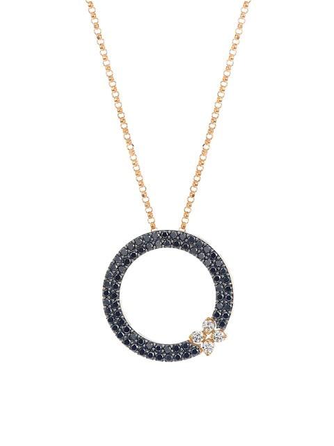 Love In Verona 18K Rose Gold, Black & White Diamond Necklace
