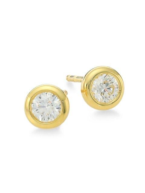 Tiny Treasures 18K Yellow Gold & Diamond Stud Earrings