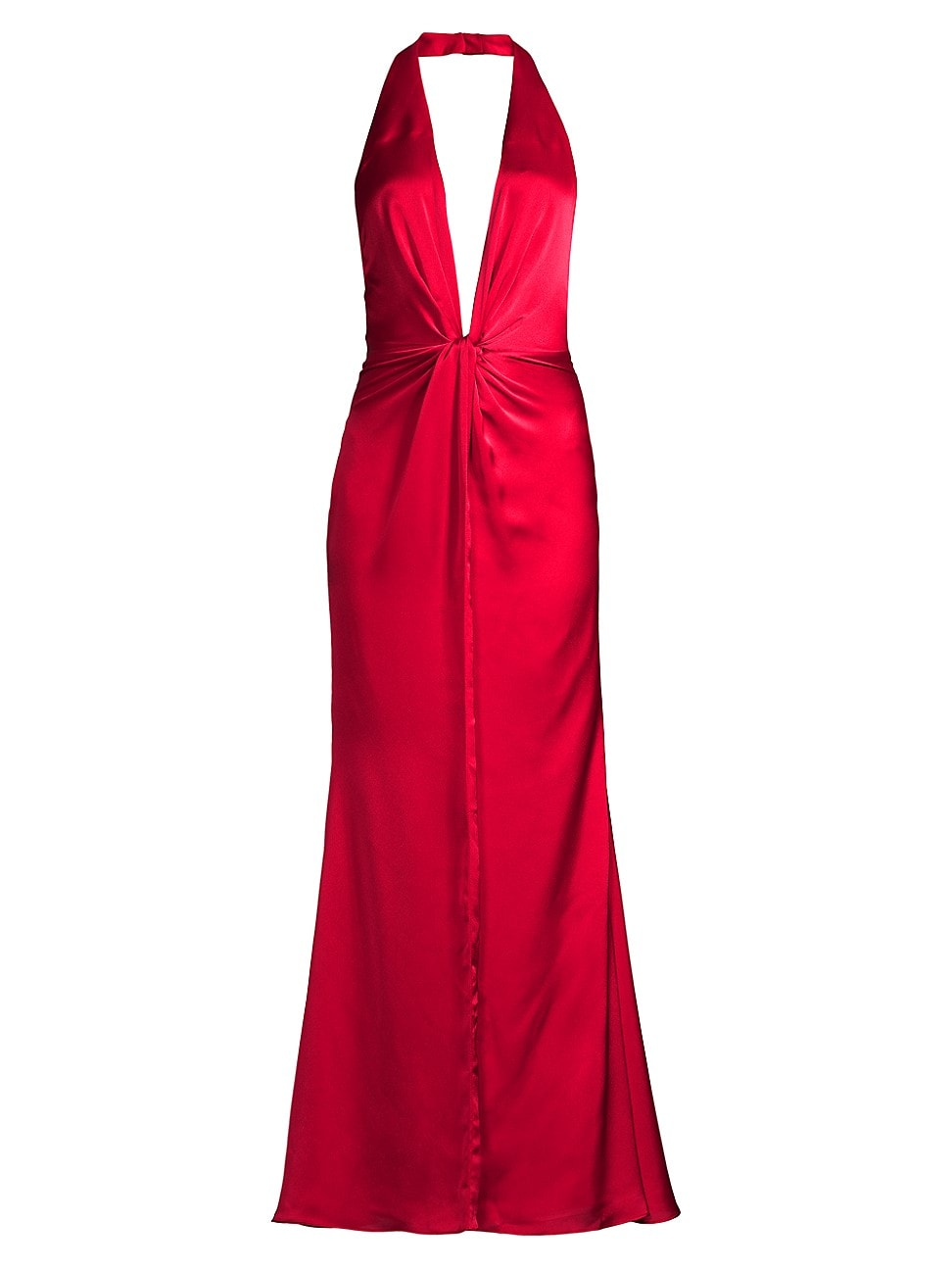 Fame And Partners Vania Plunge Halter Gown In Ruby Red
