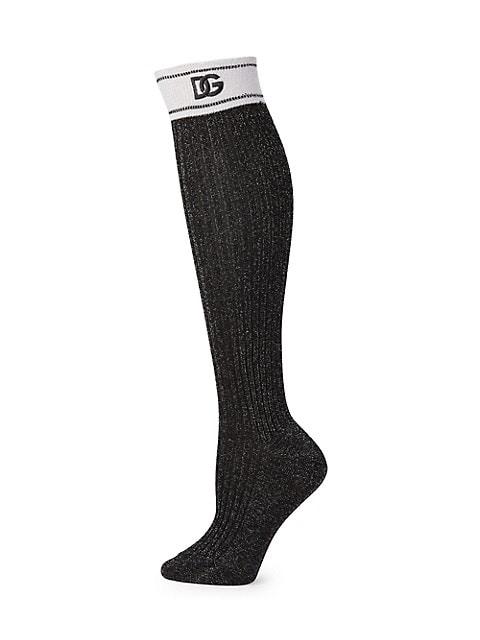 DG Logo Ribbed Knee Socks