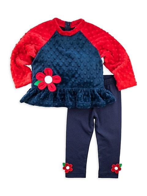 Baby Girl's 2-Piece Dimple Fleece Top & Leggings Set