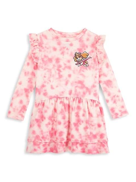 Little Girl's Paw Patrol Tie-Dye Patchwork Dress