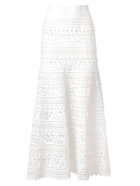 Eyelet & Embroidery Midi-Skirt