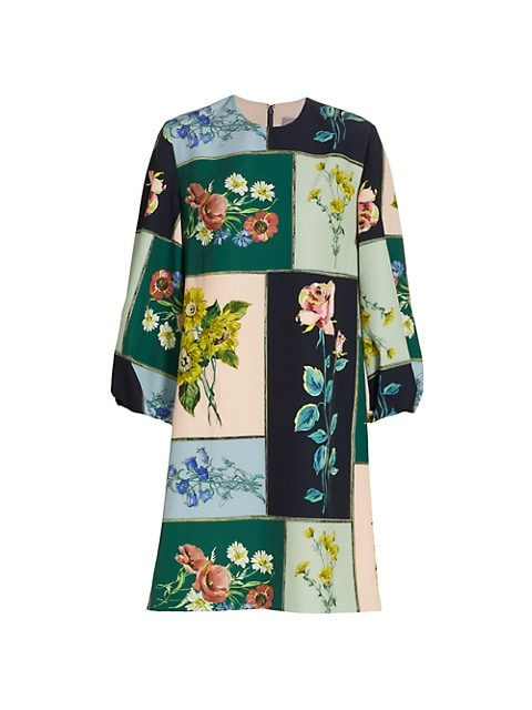 Colorblock Floral Mini-Dress