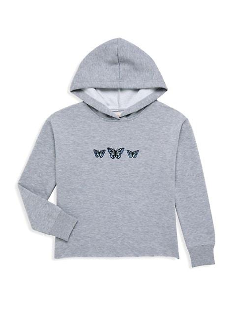 Girl's Butterfly Fleece Hooded Sweatshirt