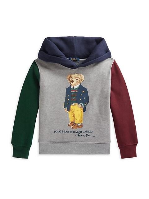 Little Boy's & Boy's Polo Bear Color-Blocked Fleece Hoodie