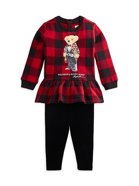 Baby Girl's 2-Piece Polo Bear Top & Velour Leggings Set
