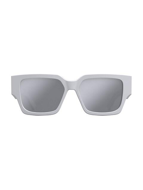 CD SU 55MM White Rectangular Sunglasses