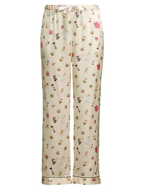 Chantal Illustrated Silk Pants
