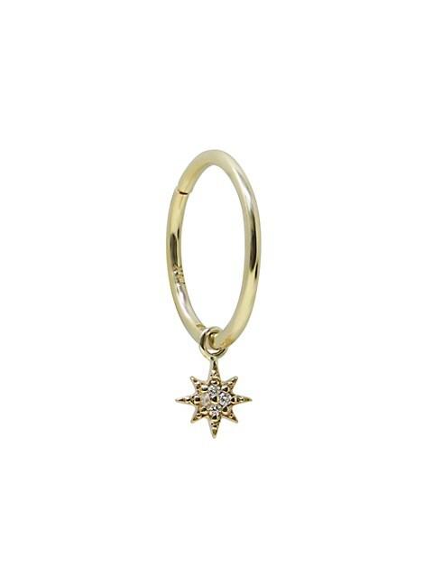 Aztec 14K Gold & Diamond North Star Hoop Earring
