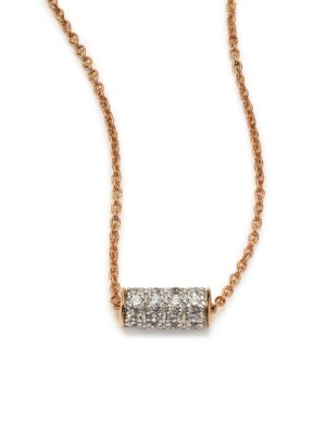 GINETTE NY Diamond & 18K Rose Gold Mini Straw Necklace