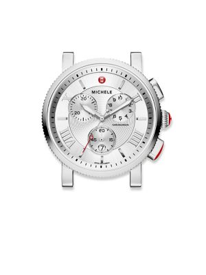 "Image of From the Sport Sail Collection. Elegant watch head with textured white enamel dials. Swiss quartz movement. Water resistant to 5 ATM. Round polished stainless steel case, 42mm (1.65"").Polished bezel. Red cabochon crown. Sapphire crystal. Textured white en"