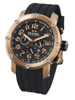 TW STEEL Grandeur Tech Rose-Gold Plated Stainless Steel Chronograph Watch in Black-Gold