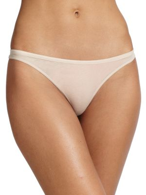 SKIN Organic Cotton Low-Rise Thong in Nude