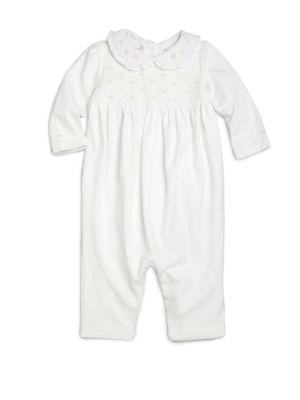 폴로 랄프로렌 베이비 커버올 우주복 (아기옷 선물 추천) Polo Ralph Lauren Baby Girls Smocked Cotton Coverall,WHITE
