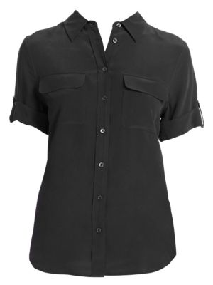 Short-Sleeve Slim Blouse by Equipment