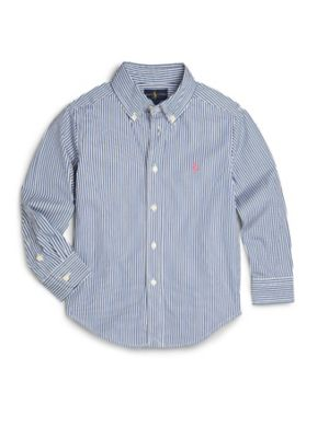 Toddler Boys Striped Cotton Poplin Dress Shirt
