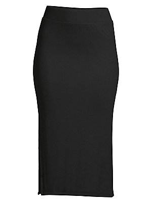 "Image of A deep side slit lends an alluring touch to this ultra-soft knit design in an of-the-moment midi length. Self waistband Pull-on style Side slit About 27"" long Micromodal/spandex Hand wash Imported. Contemporary Sp - Atm > Saks Fifth Avenue. ATM Anthony Th"