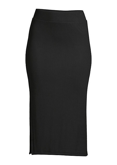 """Image of A deep side slit lends an alluring touch to this ultra-soft knit design in an of-the-moment midi length. .Self waistband. Pull-on style. Side slit. About 27"""" long. Micromodal/spandex. Hand wash. Imported."""