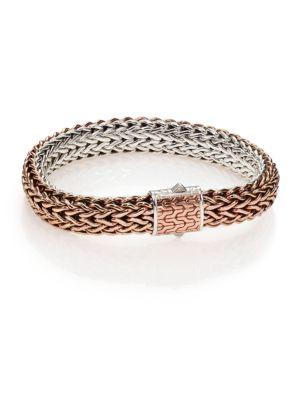 JOHN HARDY Classic Bronze & Silver Reversible Chain Bracelet in Bronze/ Silver